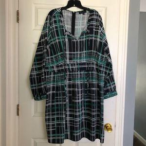Eloquii Mad for Plaid Printed Tie Neck Dress